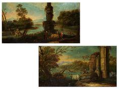 Gemäldepaar ARKADISCHE LANDSCHAFTEN Öl auf Leinwand. Doubliert. 63,5 x 120 cm. Rahmen minimal besch. (1060411) (12) Italian School, 17th/ 18th century A pair...