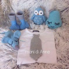 Crochet newborn baby gift set / gehaakt setje voor de kraammand van een jongetje Annemarie Evers/ mani di Anne