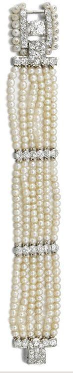 Алмаз и жемчуг браслет.  Cartier, 1930-х годов.