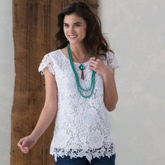 Southern Belle White Lace Top- The Southern Belle White Lace Top is a Cowgirl Classic
