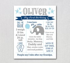First Birthday PRINTABLE Poster / Customized by FancyShmancyNotes First Birthday Posters, Grey Elephant, Stand By Me, First Birthdays, Printables, Messages, My Love, Words