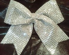 """Silver Big Texas Size Sparkly """"Rhinestone"""" Bow-Other Colors! Discounts for Team Cheer Bows Orders! Bling Cheer Bows, Cute Cheer Bows, Cheer Mom, Pink Bling, Big Bows, Team Cheer, Softball Bows, Cheerleading Bows, Cheer Hair"""