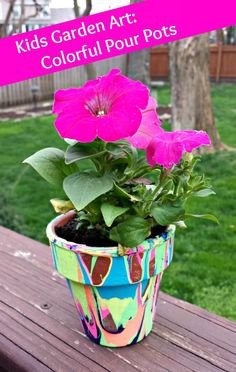 Creative activity for kids in the garden: Colorful pour pots
