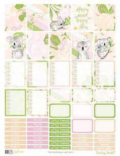 Koala Planner Stickers Printable weekly kit Animal stickers