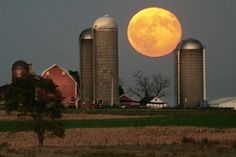 A full moon rises over a farm located west of Dubuque, Iowa.    Dave Kettering/Telegraph Herald/AP