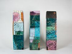 I fell in love with the work of Ute Grossman, a German artist that creates sculptural ceramics, mostly vessels, and mosaic looking sculptural pieces. I love her use of color, textural lines and sha...