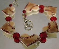 Baseball Heart Bracelet - Sports Jewelry