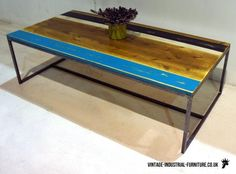 Vintage Industrial Striped Coffee Table - could use this table top as my desk