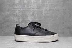 Vtg 90s Black Leather DKNY Platform Club Kids Sneakers Shoes 9 1/2 9.5 10. $92.00, via Etsy.