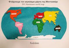 DIY Φτιάχνουμε τον παγκόσμιο χάρτη της Μοντεσσόρι - Montessori world map - με πατρον Montessori, Map, Logos, Location Map, Logo, Maps
