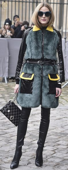 Who made Olivia Palermo's black thigh high boots, colorblock coat, tote handbag, and blue sunglasses?