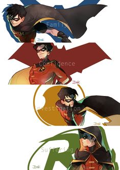 Nightwing, Richard Dick Grayson, The First Robin | Red Hood, Jason Peter Todd, The Second Robin | Red Robin, Timothy Jackson Drake, The Third Robin | Robin, Damian Wayne al Ghul, The Fourth Robin | Batboys
