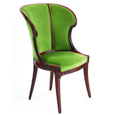 "Eugéne Gaillard - Upholstered Side Chair. Carved Mahogany with Fabric Upholstery. Circa 1900. 35"" x 24-1/2"" x 21-1/2""."
