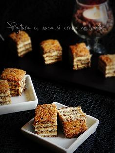 Cake with walnuts and vanilla cream Romanian Desserts, Romanian Food, Romanian Recipes, Vanilla Cream, Amazing Cakes, I Foods, Food To Make, Dessert Recipes, Food And Drink