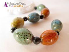Ceramic pottery beads teal orange mustard by APlusJewelryCrafts, $4.80
