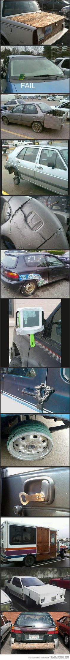 Redneck car repair...lol. And for those who would understand, there's a make-up mirror for you :)