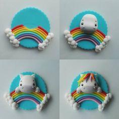 17 ideas for cake fondant rainbow polymer clay Unicorn Cupcakes Toppers, Fondant Cupcake Toppers, Unicorn Cake Topper, Unicorn Cakes, Cake Fondant, Cupcake Cakes, Fimo Clay, Polymer Clay Crafts, Rose En Fondant