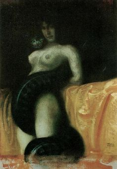 """The Sin"" 1891, Franz Von Stuck - He exposed many snake-pictures that bear titles like ""Vice"", ""Sin"" or ""Lust"". The mixture of cold tension and lust is perfectly expressed in the sultry atmosphere of these admirable versions."
