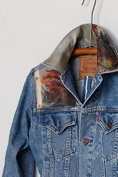 Swarm denim jacket with oil painting