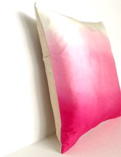 Hot Pink Ombre Silk & Natural Linen Luxurious Handmade Square Cushion – Kirsty Gadd Textiles