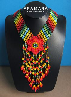 Mexican Huichol Beaded Orange Flower Necklace CFG-0071 Mexican