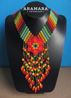 Mexicana Huichol cuentas naranja flor collar CFG-0070 mexicano