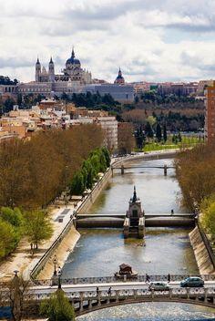El río Manzanares desde el teleférico de Madrid