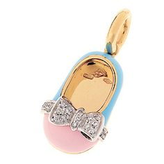 18K pink and light blue baby shoe with diamond bow of .11 cts