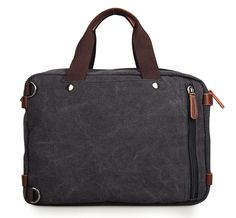 Versatile Canvas and Leather Converable Messenger Bag Backpack - Black