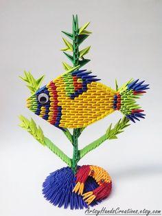 3d Origami Fish Paper Fish 3d Fish Origami by ArtsyHandsCreations