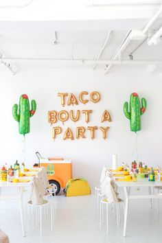 51 of the Best Theme Party Ideas Actual Party Planners Could Think Of 101 Theme Party Ideas - Cinco de Mayo: Have all-you-can-drink margaritas, a make your own taco bar, and end with a tequila tasting. We love these cacti and gold metallic ballon letters! 21 Party, Party Fiesta, Taco Party, Party Time, Party Snacks, Mexican Fiesta Birthday Party, Fiesta Cake, Pinata Party, Work Party