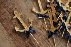 Anchor Cupcake Toppers. Ships in 2-5 Business Days. Nautical Baby Shower Decorations 12CT.