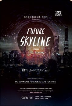 future skyline free event psd flyer template