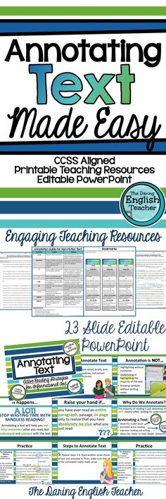 Teach your students how to properly annotate text with this easy, simple to use lesson. It includes an EDITABLE PowerPoint presentation and teaching resources. It's ideal for secondary ELA students!