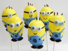 Despicable Me Minion Cake Pops by EntirelySweet on Etsy Superhero Birthday Cake, Cupcake Birthday Cake, Star Wars Birthday, Cool Birthday Cakes, Star Wars Party, Geek Birthday, Birthday Cup, Birthday Ideas, Minion Cake Pops