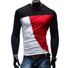 13.03$  Watch here - http://didad.justgood.pw/go.php?t=173707925 - V-Neck Color Block Spliced Long Sleeve Men's T-Shirt