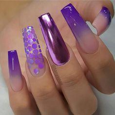 25 Nice Purple Crome Nails Ideas for 2019 - Fashion Yellow Nails Design, Yellow Nail Art, White Nail Art, White Nails, White Nail Designs, Cool Nail Designs, Acrylic Nail Designs, Acrylic Nails, Fabulous Nails