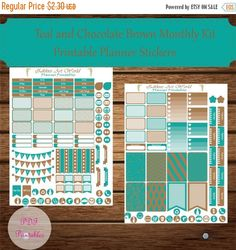 12% SALE Teal and Brown Stickers Monthly Kit by ZikkiesArtWorld