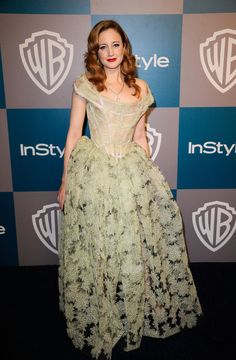 Andrea Riseborough Corset Dress - Andrea Riseborough made a statement at the Golden Globes in a corseted sage evening dress with a sheer skirt.