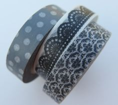 Washi Tape  3 Rolls  Gray and Black Mix  Gray with by HazalsBazaar, $6.75