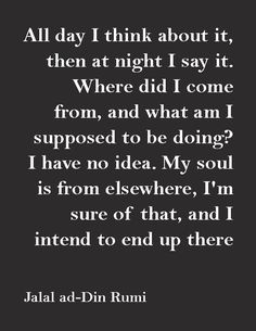 """""""All day I think about it, then at night I say it. Where did I come from, and what am I supposed to be doing? I have no idea. My soul is from elsewhere, I'm sure of that, and I intend to end up there.""""—Jalal ad-Din Rumi"""
