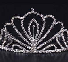 Shiny Rhinestone Peacock Tail Girl Wedding Prom Tiara Crown Headband