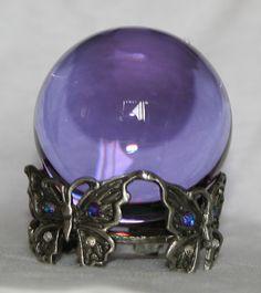 butterflies crystal ball | Alexandrite Color Crystal Ball with Butterfly Pewter Crystal Ball ...