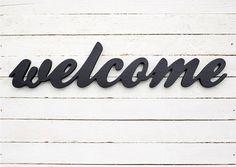 Welcome wooden sign wood words home door bar by BotanikaStudio