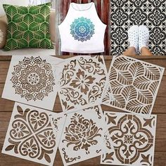 Mandala Stencils, Stencil Patterns, Mandala Painting, Stencil Painting, Stencil Designs, Stenciling, Stencil Decor, Painting Fabric Furniture, Fabric Painting