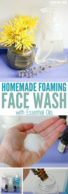 This homemade foaming face wash takes just 5 minutes to make and is a soothing, inexpensive way to wash your face with all-natural ingredients, including essential oils.