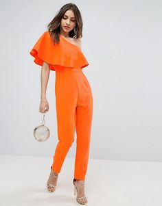 765204a6bd5 ASOS One Shoulder Ruffle Jumpsuit at asos.com. Discover women s jumpsuits    playsuits ...