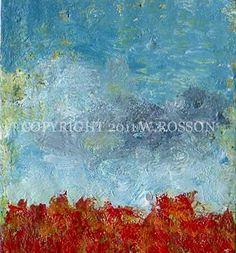 Red flowers Landscape Miniature Impressionist Painting by winjimir, $5.00
