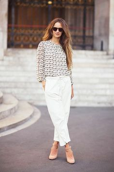 Paperbag trousers, blouse, and pretty blush colored ankle boots.