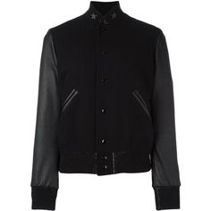 Saint Laurent star collar teddy jacket ($2,795) ❤ liked on Polyvore featuring outerwear, jackets, black, letterman jackets, varsity jacket, yves saint laurent, varsity-style bomber jacket and college jacket